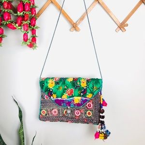 Vintage Indian Fabric Beaded Embroidered Bag